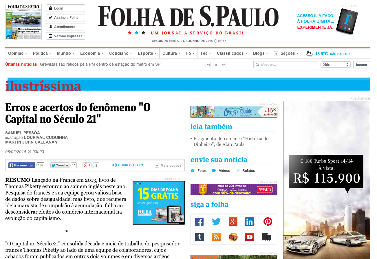 "Erros e acertos do fenomeno ""O Capital no Século 21"", Folha de S.Paulo"